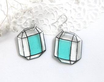 Geometric earrings for sister gift mint earrings Crystal jewelry diamond earrings Aquamarine earrings girlfriend gift for teen girl jewelry