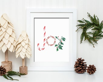 Christmas Joy Printable Wall Art Christmas Decor Christmas Print Candy Cane Holly Joy Christmas Printable Christmas Joy To The World Print
