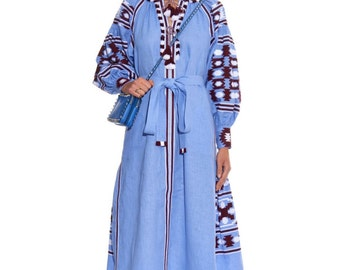 Light blue embroidered dress to order Boho style