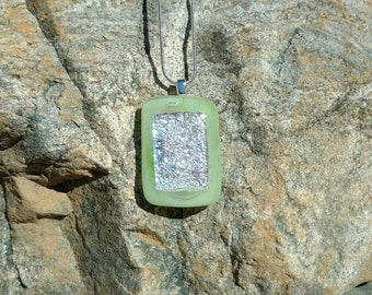 Dichroic Fused Glass Pendant, shimmering silver-blue, surrounded by light green, Handmade Necklace