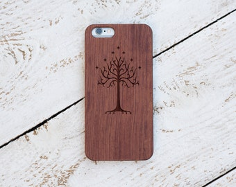 Lords of The Rings Tree Of Gondor, Wood Case, iPhone 7, 7 Plus, 6s, 6 6 Plus, 5s, 5, SE, Samsung Galaxy S7, S6, Note 7 Laser Engraved #4084