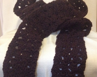 Crochet Scarf in Rich Chocolate Brown