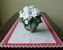 Long linen lace table runner and square placemat Red Christmas dresser scarf Natural table cloth Set