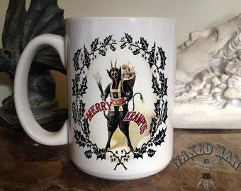 Krampus Standing, Merry Krampus 15 oz Coffee Mug