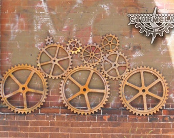 Large Wood Gear set, Faux Iron Gears, Sprocket, Pulley, Steampunk Industrial Art Supplies, Wall Hanging Gears, Wall Ornaments