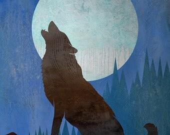 Wolf Art, Contemporary Moon Print, WOLF MOON #1, Wolf Howling at Moon Print, Moon Artwork, Wolf and Moon Art, Night Sky Print