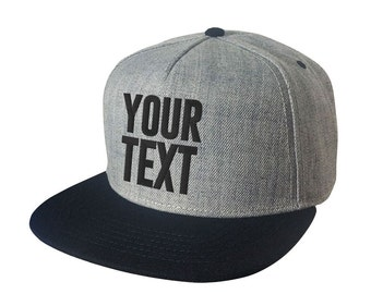Heather Black Wool Blend flat bill snapback cap- Your text custom embroidered - personalized hat