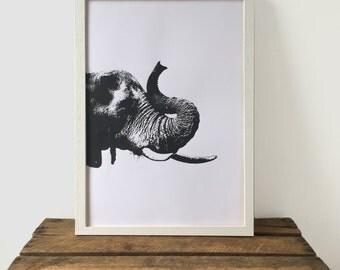 Elephant Print, Black and White Print, 29.7 cm x 42 cm, A3 Art Print, Animal Print, Screen Print, Gift Idea, Print