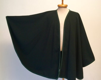 Vtg green wool cape coat