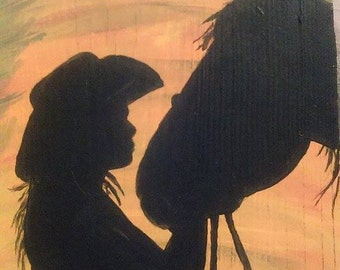 Silhouette girl with horse