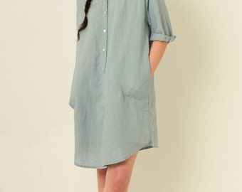 Button Front Shirt Dress with Side Pockets in Light Blue