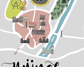 Munich map poster - original artwork, posters kids
