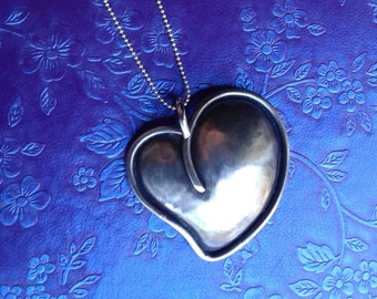 Sterling Silver Puffed Heart Pendant/Necklace