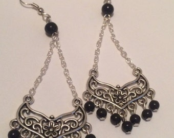Vintage Silver and Black Chandelier Dangle