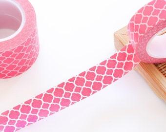 Hot Pink Washi Tape 15mm/ Masking Tape/ Birthday Wedding Valentines Gift Packaging/ Tropical Washi Tape