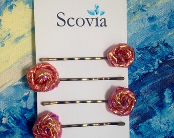 Hair Pins Pink Luster, Bobby Pins, Hair Accessories, Handmade, Shimmer Pins, Party Favors, Gift