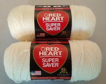 Red Heart Super Saver SOFT WHITE Yarn Lot of 2 Skeins 7 oz Worsted Weight