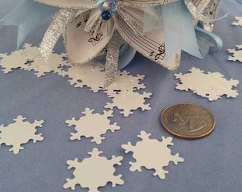 Snowflake Winter Wonderland Snow Dust Confetti, Frozen Inspired White Snowflake Card Stock, Frozen Snow Flurries Birthday Table Top Decor