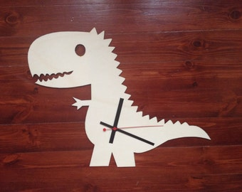 """Wooden wall clock """"Anthony"""" the dinosaur!"""