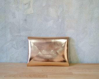 Rose gold leather clutch bag / Copper envelope clutch / Leather bag / Genuine leather / Bridesmaids clutch