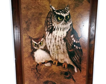 "Vintage Owl Picture Large 21"" 1970s - 1980s Rustic Owl Art Country Farmhouse Cottage Owl Wall Decor"