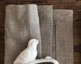 Natural Linen Napkins, Set of Six natural taupe cloth napkins, linen napkins, cloth dining napkins, grey brown napkins, eco friendly wedding