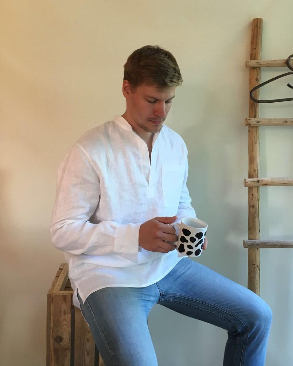 Linen Shirt Men, Mens Shirt, White Linen Shirt Dress, Long Sleeve ...