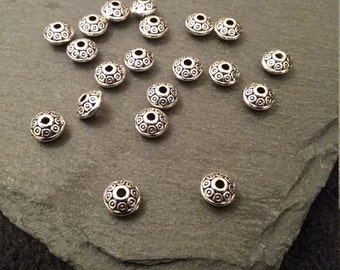 20 Antique Silver Tone 6mm Flying Saucer Shaped Spacer Beads