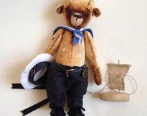 Teddy Bear, Ooak Doll, Stuffed Animals, Teddy Bears, Plush Bear, Ooak Artist Bear, Homemade Dolls, Vintage Teddy Bear, Sailor Doll