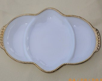 Fire King Oven Ware Milk Glass Divided Relish Candy Serving Dish