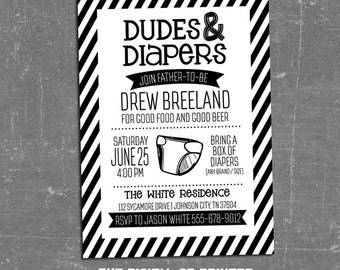 Diaper Shower Invitation, Men, Dudes and Diapers Invitation, Diaper Cookout, Diaper Drop Invitation, New Dad Shower, Black, White, Printable