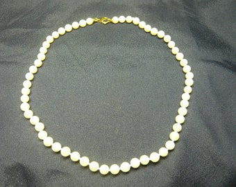 Japanese Pearl Necklace-yellow gold clasp.