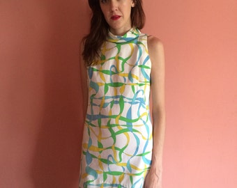 Vintage Blue and Green Printed Mini Dress