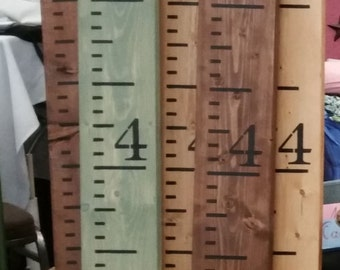 Wood - Hand Painted - Growth Chart Ruler - Custom Colors/Stains - Ruler Measures to 7' - Exact Measurements