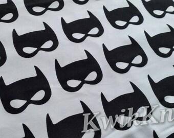 Black - bat - masks - white - cotton lycra - stretch - knit - fabric - 95/5 - four way - superhero - batman - bat mask - monochrome