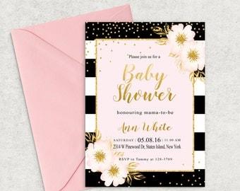 Black & Pink Baby Shower Invitation, Gold Glitter Invitation, Printable Invitation, Girl Baby Shower Invite, Custom invitation, BP-01