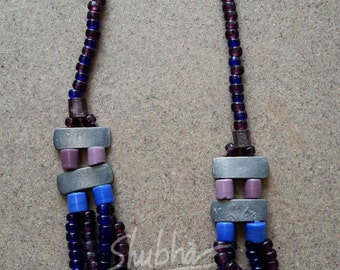 long beaded glass necklace with metal beads
