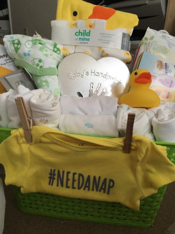Baby Gift Basket Etsy : Surprise unisex baby gift basket