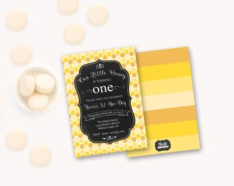 BumbleBee HoneyBee Baby Girl 1st First Birthday Invitation, Bee Party, Printable First Birthday Invitation, Queen Bee Black Yellow Custom012