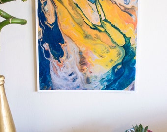 Orange abstract print of original abstract art, blue and yellow painting, yellow blue abstract wall decor by Arose art