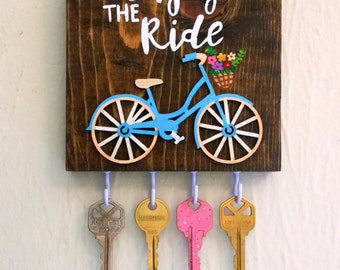 Bicycle Art / Bicycle Wall Art / Bicycle Jewelry Display / Enjoy the Ride / Necklace Holder / Key Holder / Key Hook / Key Rack / Gift Women