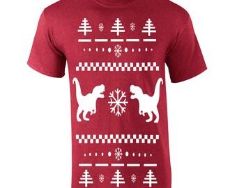 T-rex Ugly Christmas Sweater dinosaur tyrannosaurus rex jurassic party costume vintage retro - Apparel Clothing - Mens T-shirt - 357