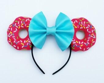 Pink Sprinkle Doughnut Mouse Ears // Mouse Ear Headband