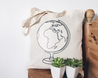 Tote bag canvas cotton globe world wanderlust black and white illustration bohemian