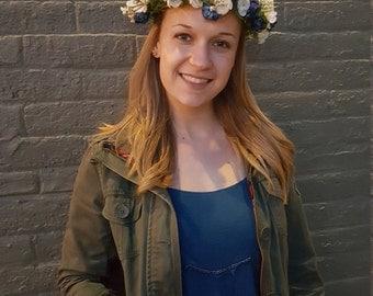 Handmade blue & white flower crown