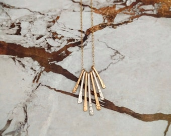 Mixed Metal Fringe Necklace/ Layering Necklace/ Hammered Fringe Necklace/ Gold Filled/ Sterling Silver Fringe Necklace