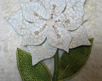 FOREVER Flower Beaded Batik Fabric Thank You, Get Well, I Love You EVERLASTING Gift: Ivory