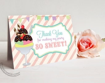 Sundae - Ice Cream Thank You Cards - Ice Cream Social - Instant download