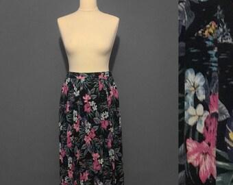 1980s Vintage floral midi skirt
