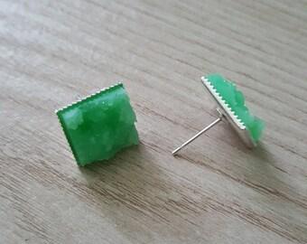 Mint Square Druzy 12mm Stud Earrings